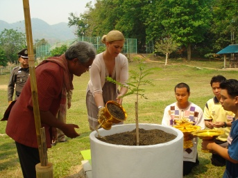 Princess Madeleine planting a tree at DEPDC