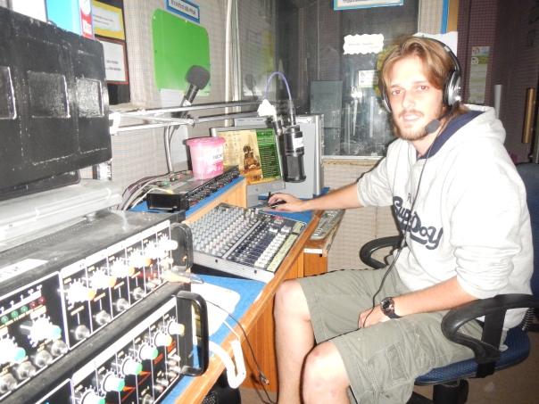 "Aaron deejays the daily morning radio show ""English Fun"""