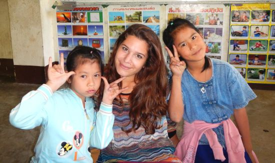 Elea and two of her Half Day School students