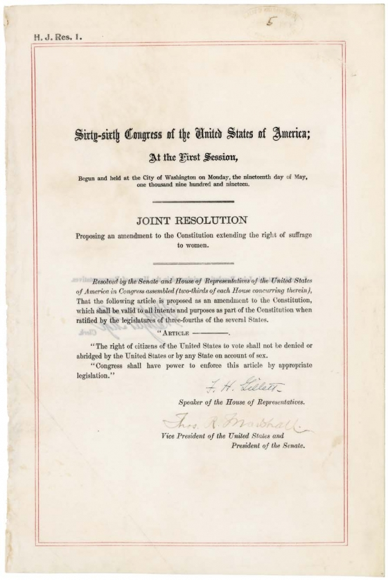 19th Amendment to US Constitution document