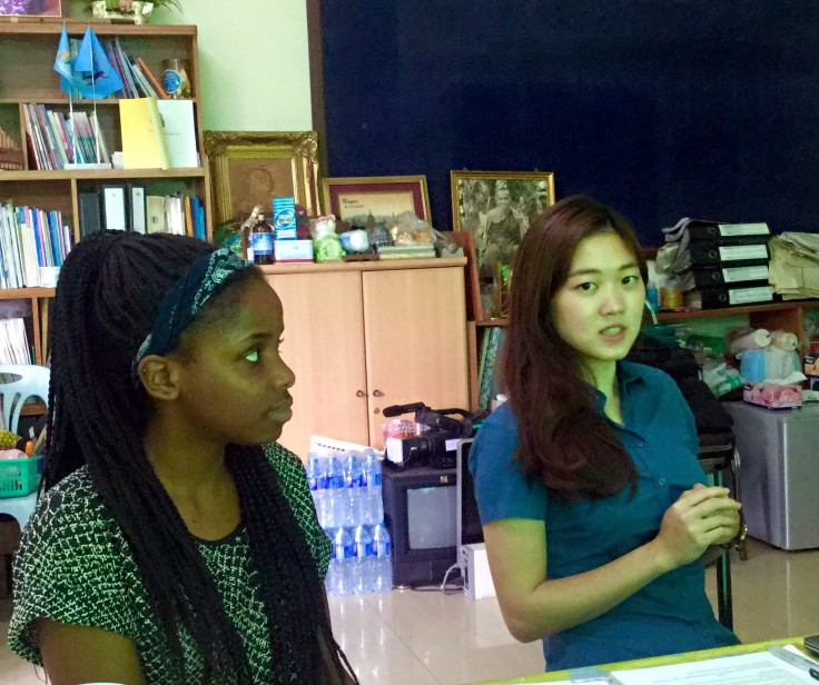 Global Giving volunteers, Alice and Tapiwa, giving their presentation to DEPDC