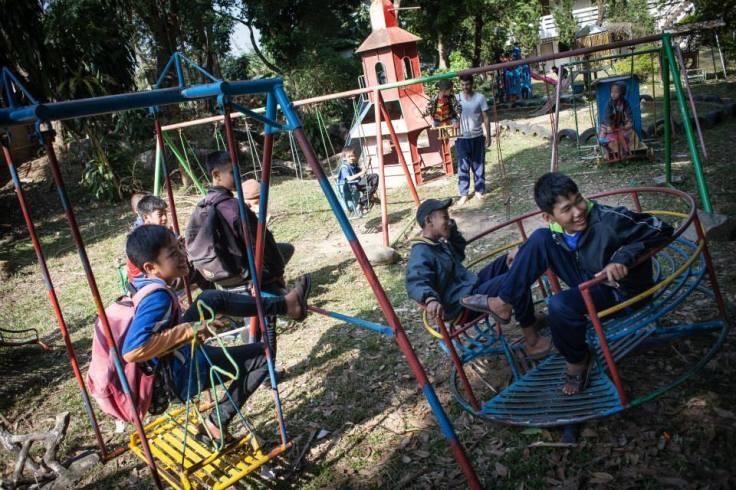 kids laughing in playground