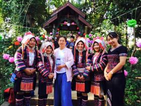 pii baew with akha girls